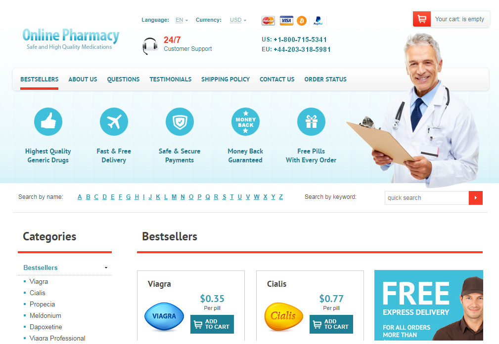 Online Pharmacy homepage