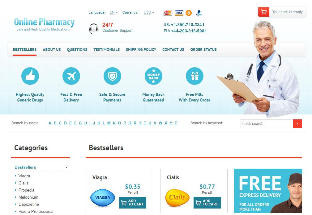 Online Pharmacy homepage
