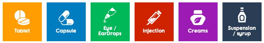 Tablets, injection, syrup