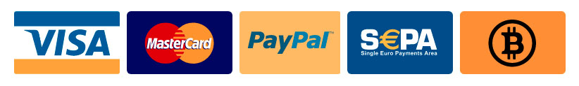 cards, paypal, bitcoin